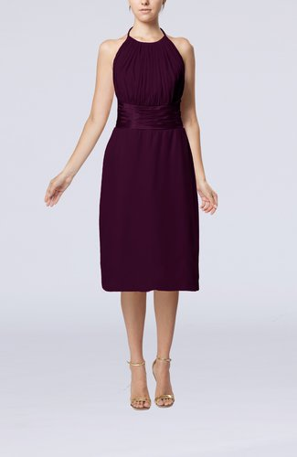 Simple Halter Backless Chiffon Knee Length Cocktail Dresses