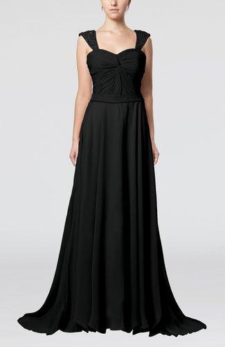 Elegant A-line Zipper Chiffon Court Train Sequin Evening Dresses