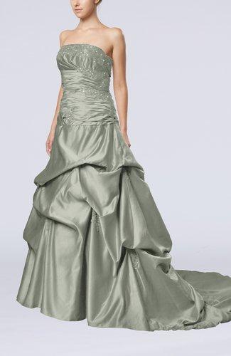 Glamorous A-line Sleeveless Backless Satin Chapel Train Quinceanera Dresses