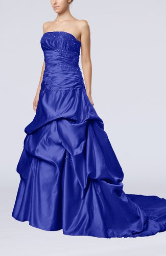 Glamorous A-line Sleeveless Backless Satin Chapel Train Quinceanera Dresses