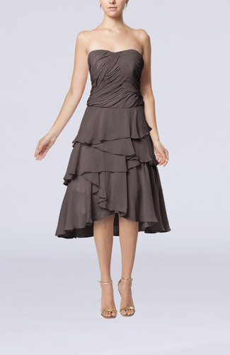 Romantic A-line Sleeveless Backless Chiffon Ruching Wedding Guest Dresses
