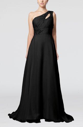 Romantic Asymmetric Neckline Sleeveless Chiffon Beaded Prom Dresses