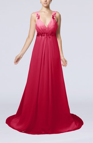 Elegant Hall Empire Sleeveless Chiffon Court Train Bridal Gowns