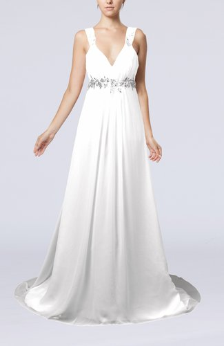 Elegant Hall Empire Sleeveless Chiffon Court Train Bridal Gowns