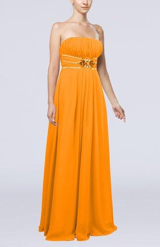 Plain Sleeveless Zip up Chiffon Floor Length Flower Evening Dresses