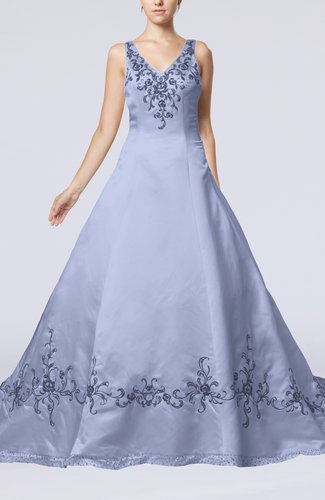 Modest Outdoor A-line Sleeveless Zipper Chapel Train Embroidery Bridal Gowns