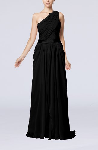 Elegant Sheath One Shoulder Zipper Chiffon Ribbon Wedding Guest Dresses