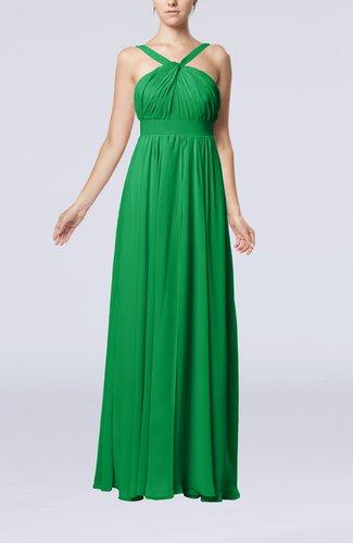 Simple V-neck Sleeveless Chiffon Floor Length Party Dresses