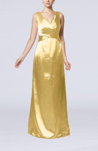 Simple V-neck Sleeveless Zipper Elastic Woven Satin Floor Length Bridesmaid Dresses