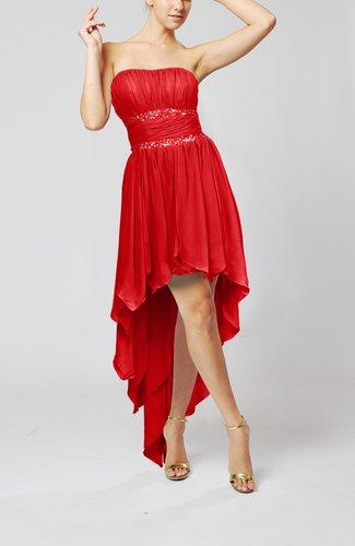 Cute Strapless Sleeveless Zip up Chiffon Paillette Party Dresses