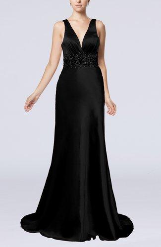 Elegant Sheath V-neck Backless Court Train Evening Dresses
