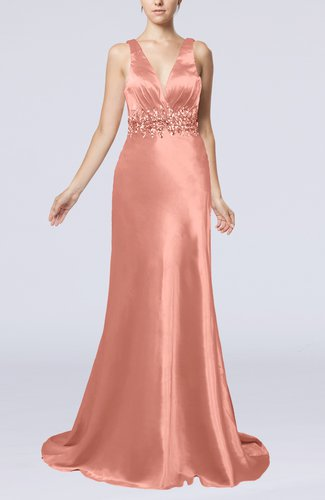 Elegant Sheath V-neck Backless Court Train Evening Dresses