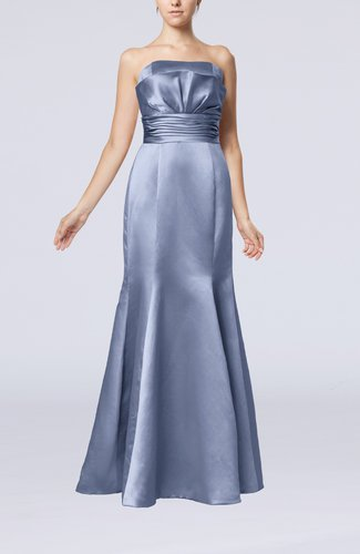 Simple Strapless Satin Floor Length Pleated Evening Dresses