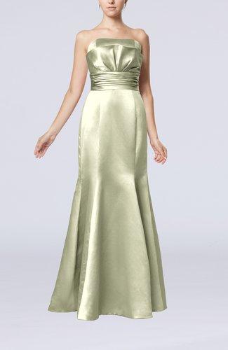 Simple Strapless Satin Floor Length Pleated Evening Dresses