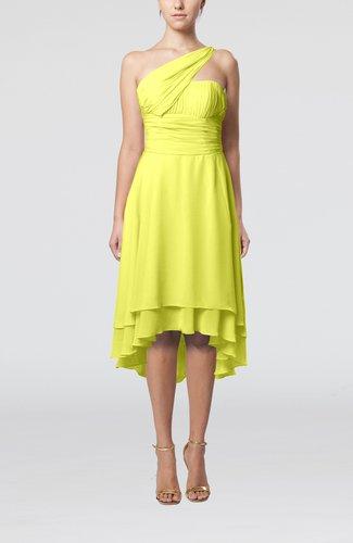 Plain One Shoulder Sleeveless Hi-Lo Ruching Homecoming Dresses