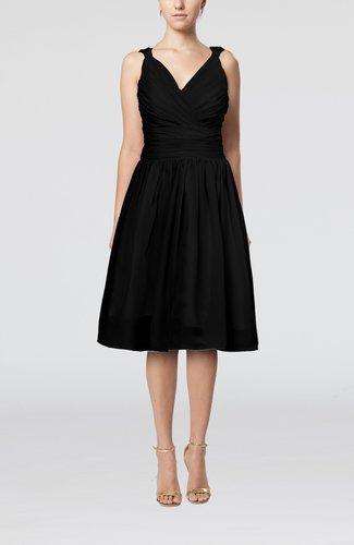 Simple V-neck Sleeveless Chiffon Knee Length Homecoming Dresses