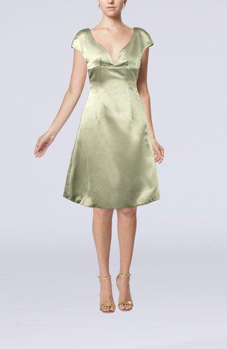 Plain A-line Short Sleeve Zip up Satin Knee Length Little Black Dresses