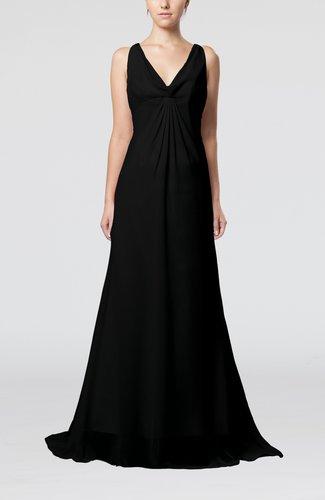 Plain A-line V-neck Zip up Court Train Pleated Evening Dresses