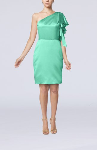 Modern One Shoulder Zip up Elastic Woven Satin Ruffles Party Dresses
