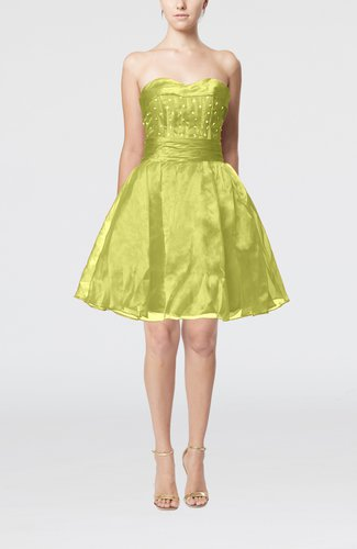 Cute Sleeveless Zipper Organza Knee Length Sequin Prom Dresses
