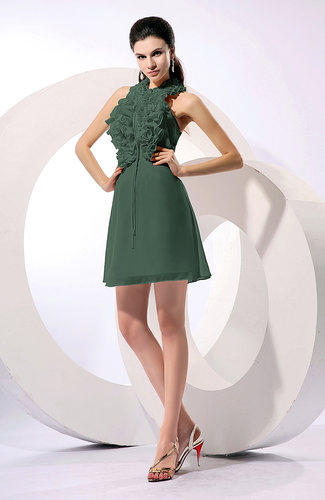 Informal A-line Sleeveless Backless Chiffon Flower Homecoming Dresses