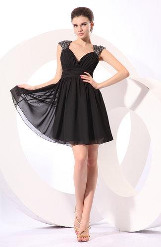 Informal A-line V-neck Chiffon Short Bridesmaid Dresses