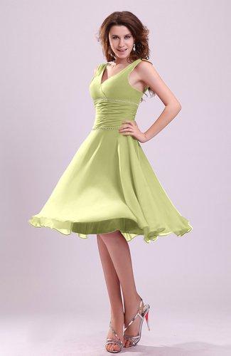 Cute A-line Sleeveless Chiffon Knee Length Ruching Bridesmaid Dresses