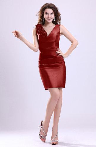 Modern V-neck Zip up Short Ruching Cocktail Dresses