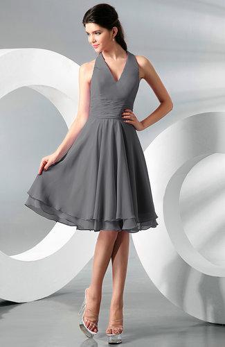 Simple A-line Halter Zip up Chiffon Bridesmaid Dresses
