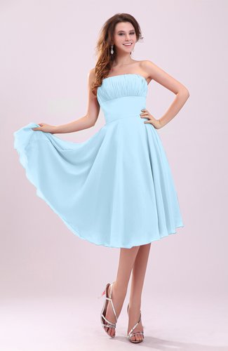 Simple A-line Sleeveless Backless Pleated Wedding Guest Dresses