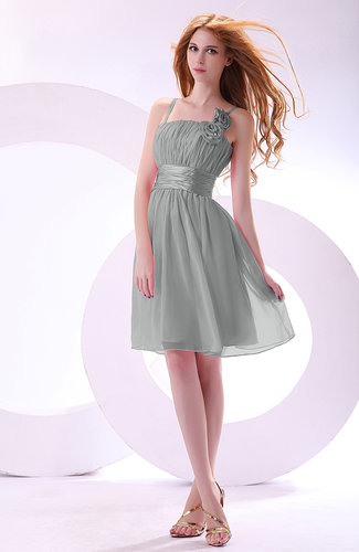 Plain A-line Sleeveless Zip up Chiffon Bridesmaid Dresses