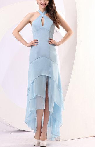 Plain Sheath Halter Chiffon Floor Length Party Dresses