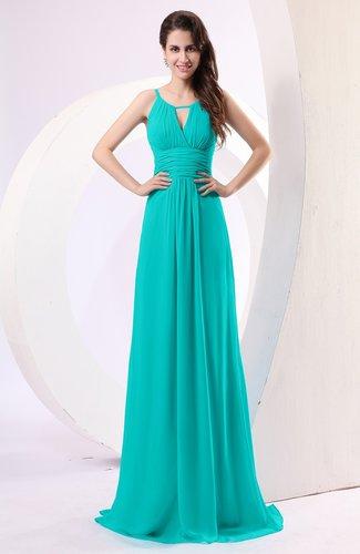 Plain Column Scoop Zipper Chiffon Ruching Evening Dresses