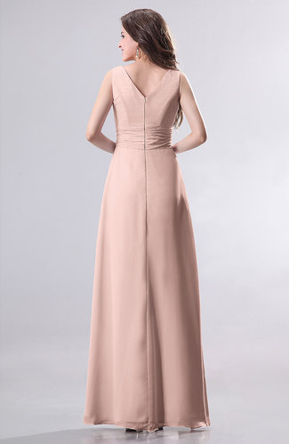04050efea710 Dusty Rose Simple Empire Sleeveless Zip up Ruching Wedding Guest ...