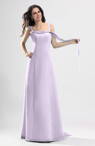 Light Purple Simple Column Thick Straps Sleeveless Chiffon Pleated Wedding Guest Dresses