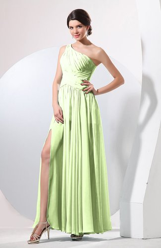Plain Sheath Sleeveless Floor Length Pleated Prom Dresses