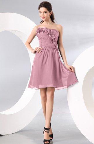 Plain A-line Strapless Sleeveless Zipper Knee Length Homecoming Dresses