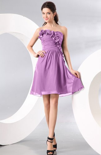 Plain A-line Strapless Sleeveless Zipper Knee Length Homecoming Dresses