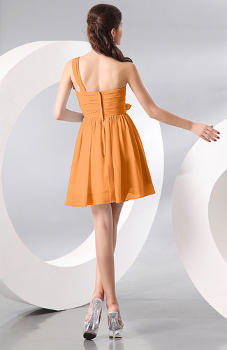 orange elegant aline one shoulder chiffon short ruching