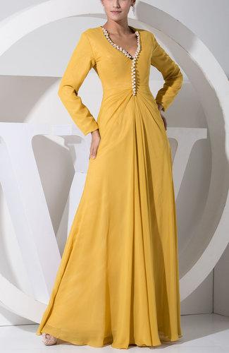 Simple V-neck Long Sleeve Floor Length Ruching Wedding Guest Dresses