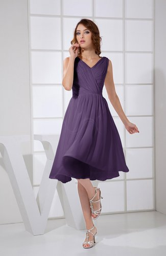 Plain A-line V-neck Sleeveless Knee Length Prom Dresses