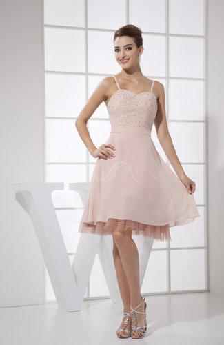 Casual A-line Spaghetti Sleeveless Chiffon Knee Length Party Dresses