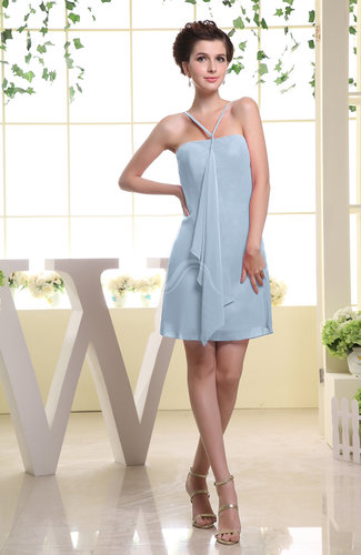 Cute Sheath Spaghetti Sleeveless Mini Plainness Bridesmaid Dresses