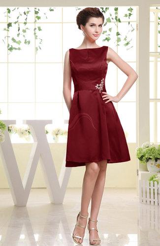Plain Sabrina Sleeveless Zipper Knee Length Rhinestone Bridesmaid Dresses