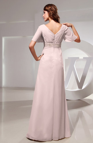 Light Pink Vintage Short Sleeve Chiffon Floor Length