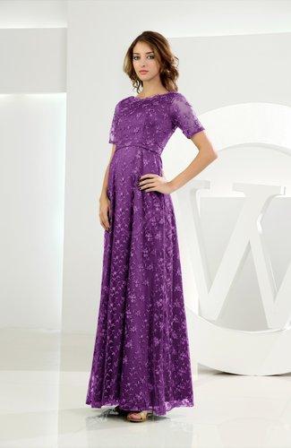 Classic Scalloped Edge Short Sleeve Zipper Satin Floor Length Evening Dresses