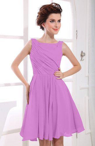 Casual A-line Sabrina Zipper Chiffon Ruching Party Dresses