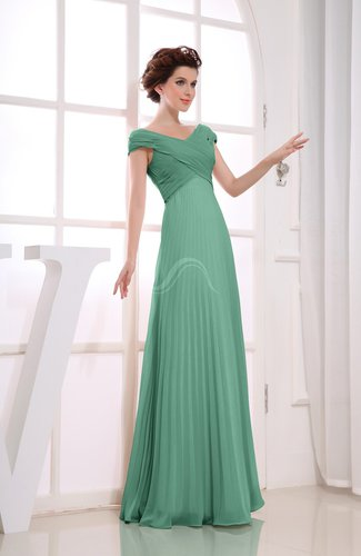 Vintage Empire Short Sleeve Zipper Chiffon Floor Length Bridesmaid Dresses