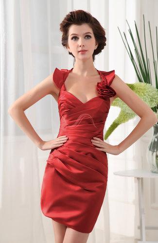 Modern Sheath Halter Satin Short Ruching Homecoming Dresses