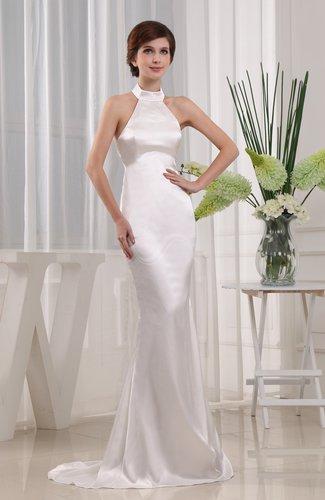 Romantic Garden Sleeveless Zip up Elastic Woven Satin Brush Train Bridal Gowns